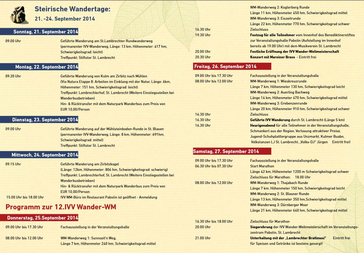 Wander WM im Naturpark Zirbitzkogel Grebenzen Programm