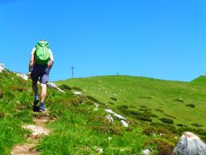 Ein weiteres Etappenziel - Das Gipfelkreuz der Sulzenschneid auf 1.990 m Höhe